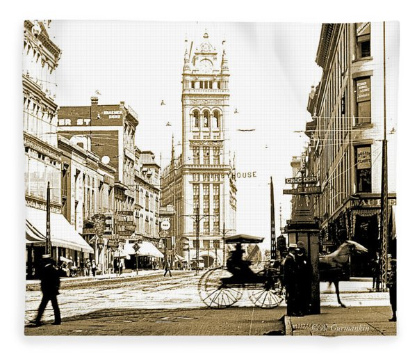 Downtown Milwaukee, C. 1915-1920, Vintage Photograph Fleece Blanket
