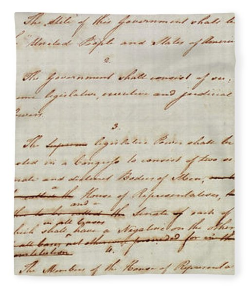 First Draft Of The Constitution Of The United States, 1787 Fleece Blanket