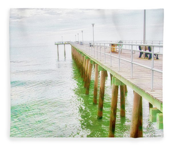 Fishing Pier, Margate, New Jersey Fleece Blanket