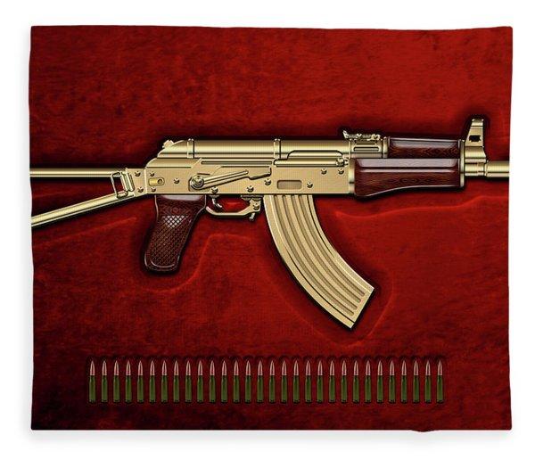 Gold A K S-74 U Assault Rifle With 5.45x39 Rounds Over Red Velvet   Fleece Blanket