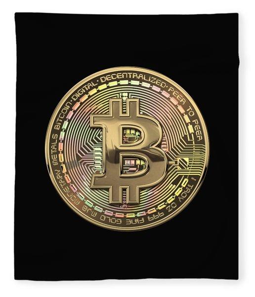 Gold Bitcoin Effigy Over Black Canvas Fleece Blanket