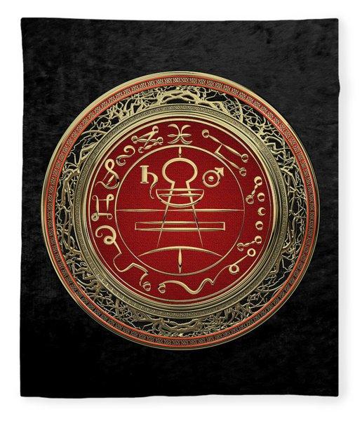 Gold Seal Of Solomon - Lesser Key Of Solomon On Black Velvet  Fleece Blanket