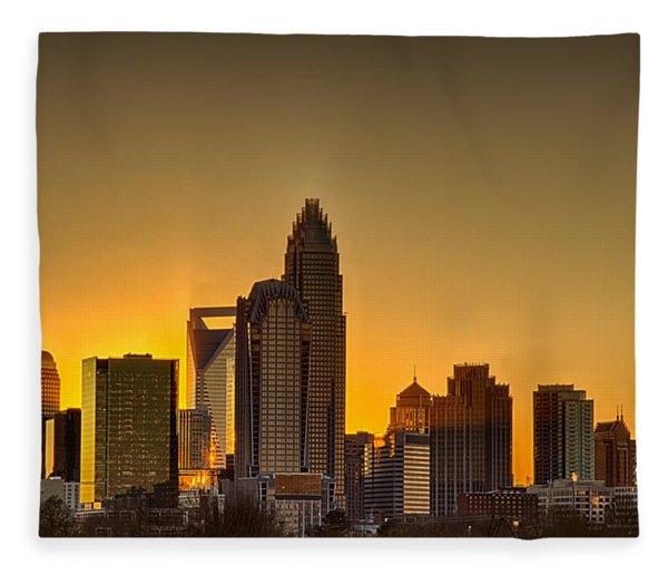 Fleece Blanket featuring the photograph Golden Charlotte Skyline by Alex Grichenko