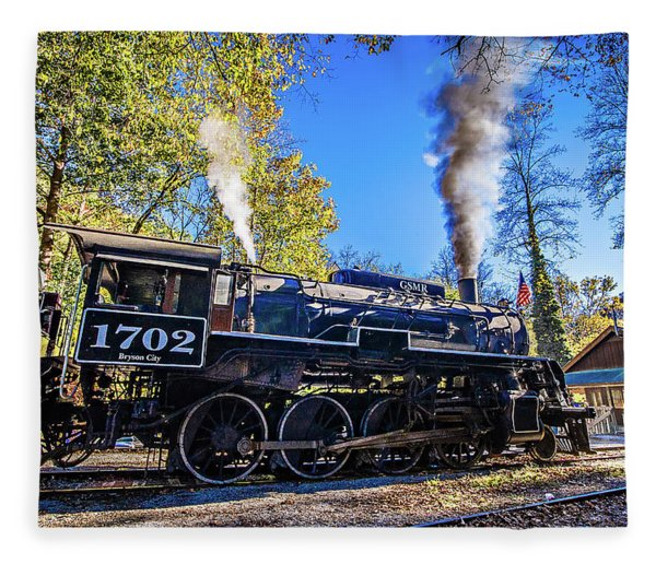 Fleece Blanket featuring the photograph Great Smoky Mountains Rail Road Autumn Season Excursion by Alex Grichenko