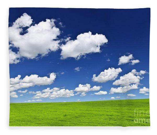 Green Rolling Hills Under Blue Sky Fleece Blanket