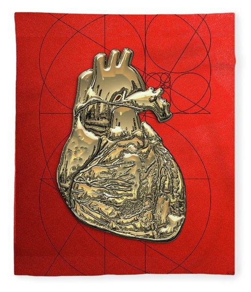 Heart Of Gold - Golden Human Heart On Red Canvas Fleece Blanket
