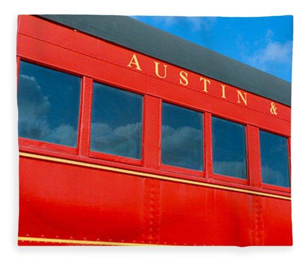 Historic Red Passenger Car, Austin & Fleece Blanket