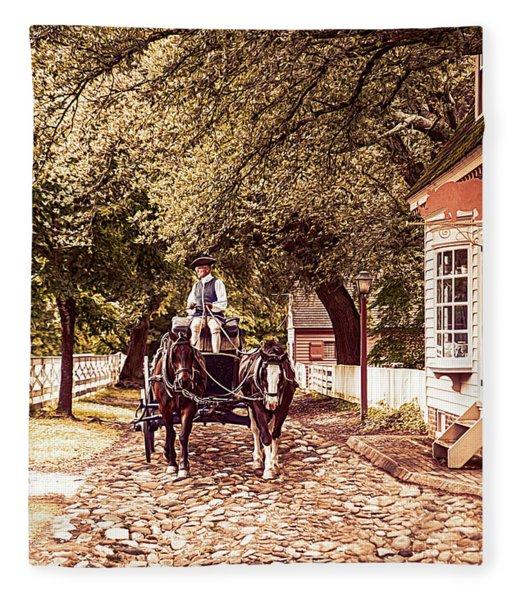 Horse Drawn Wagon Fleece Blanket