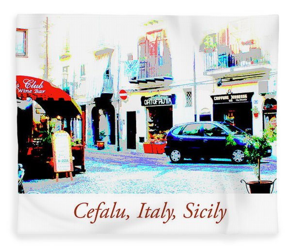 Italian City Street Scene Digital Art Fleece Blanket