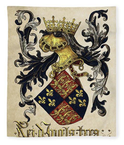 King Of England Coat Of Arms - Livro Do Armeiro-mor Fleece Blanket