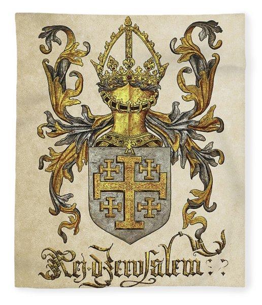 Kingdom Of Jerusalem Coat Of Arms - Livro Do Armeiro-mor Fleece Blanket