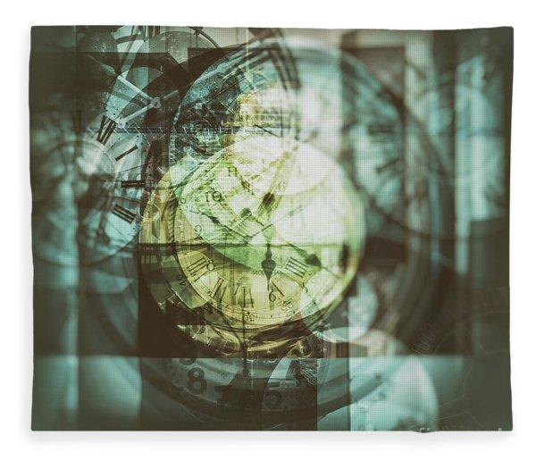 Multi Exposure Clock   Fleece Blanket