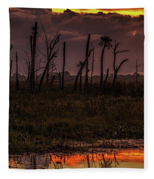 Orlando Wetlands Sunrise Fleece Blanket