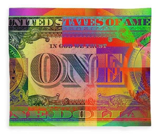 Pop-art Colorized One U. S. Dollar Bill Reverse Fleece Blanket