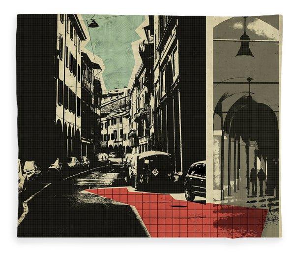 retro postcard of Bologna Fleece Blanket