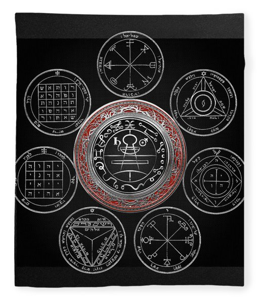 Silver Seal Of Solomon Over Seven Pentacles Of Saturn On Black Canvas  Fleece Blanket