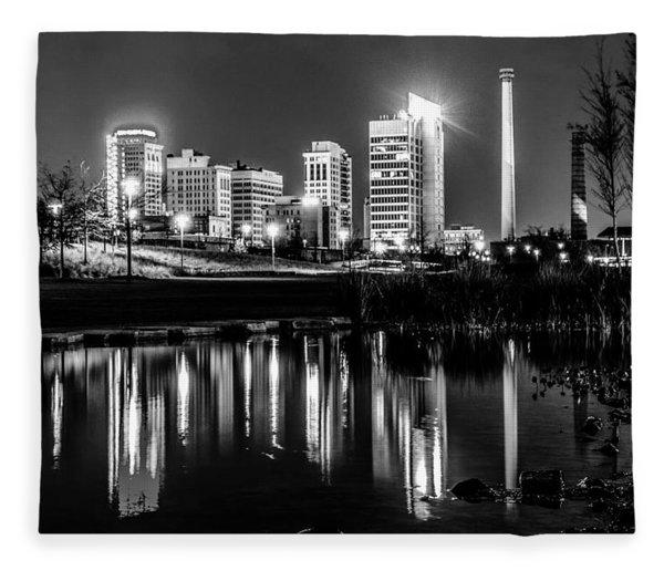 Fleece Blanket featuring the photograph Skyline Of Birmingham Alabama From Railroad Park by Alex Grichenko