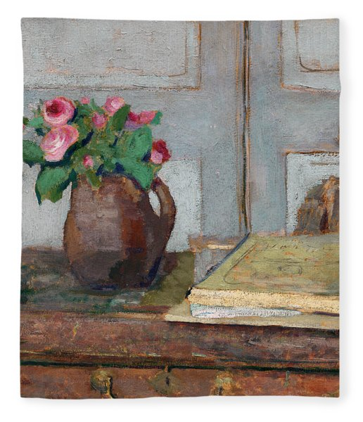 The Artist's Paint Box And Moss Roses Fleece Blanket