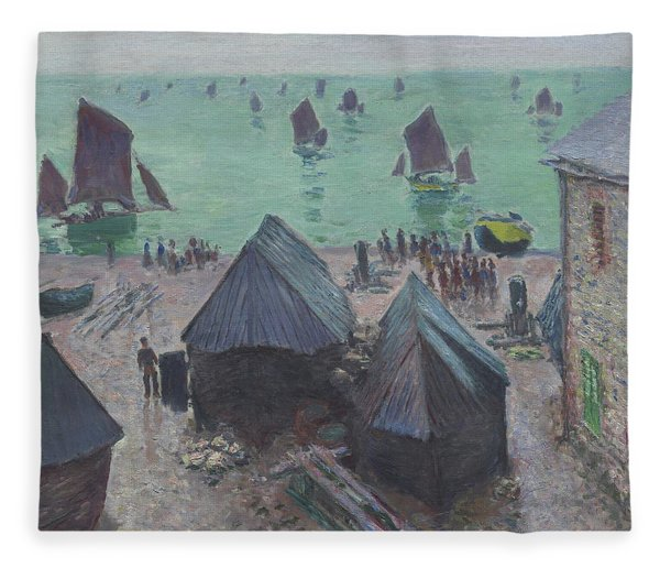 The Departure Of The Boats  Etretat Fleece Blanket