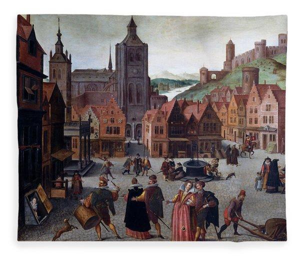 The Marketplace In Bergen Op Zoom Fleece Blanket