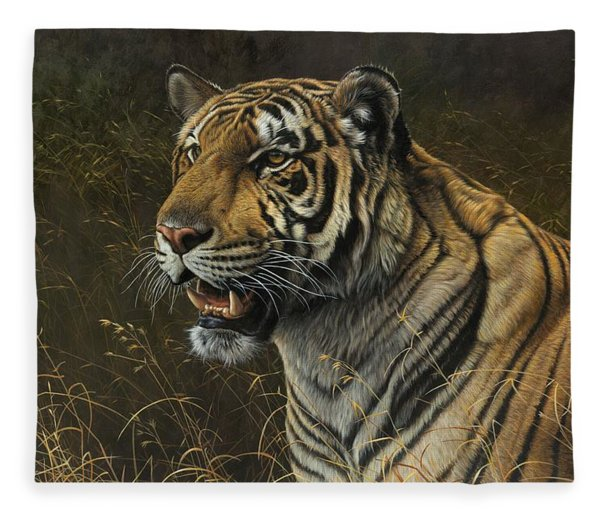 Fleece Blanket featuring the painting Tiger Portrait by Alan M Hunt