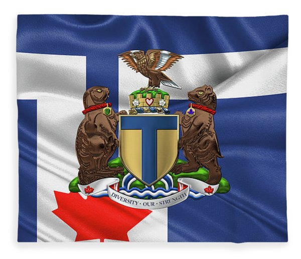Toronto - Coat Of Arms Over City Of Toronto Flag  Fleece Blanket