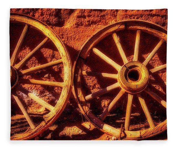 Two Old Wagon Wheels Fleece Blanket