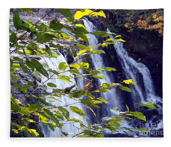 Upper Rock Creek Falls Fleece Blanket