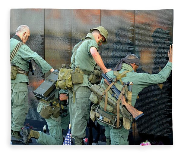 Fleece Blanket featuring the photograph Veterans At Vietnam Wall by Carolyn Marshall