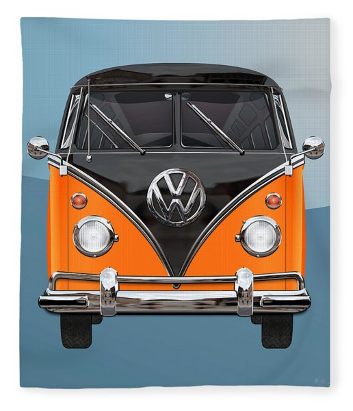 Volkswagen Type 2 - Black And Orange Volkswagen T 1 Samba Bus Over Blue Fleece Blanket