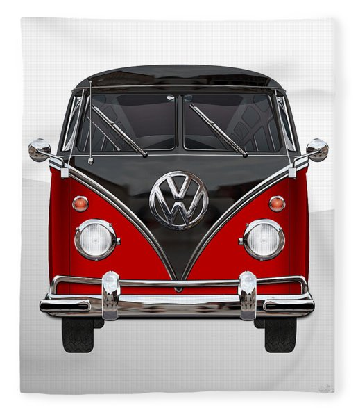 Volkswagen Type 2 - Red And Black Volkswagen T 1 Samba Bus On White  Fleece Blanket