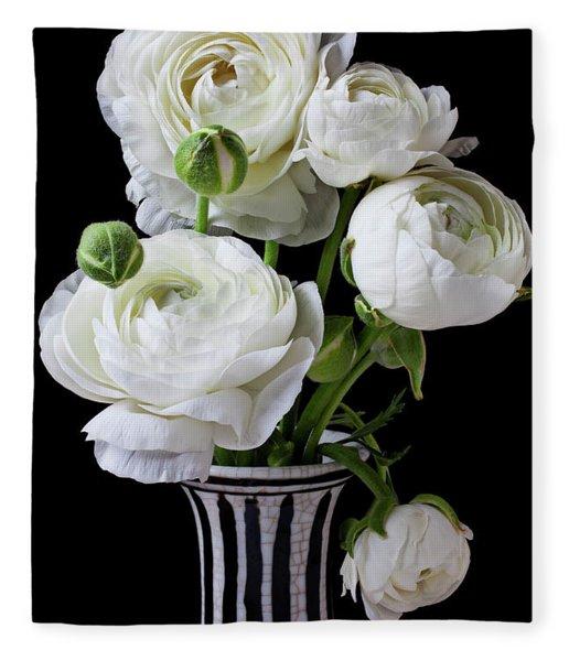 White Ranunculus In Black And White Vase Fleece Blanket