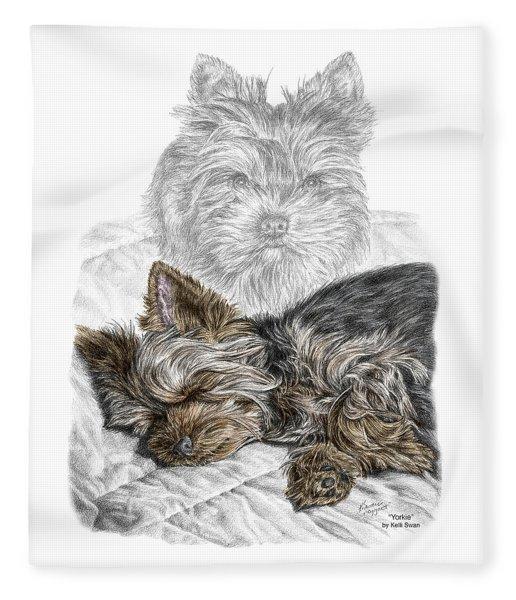 Yorkie - Yorkshire Terrier Dog Print Fleece Blanket