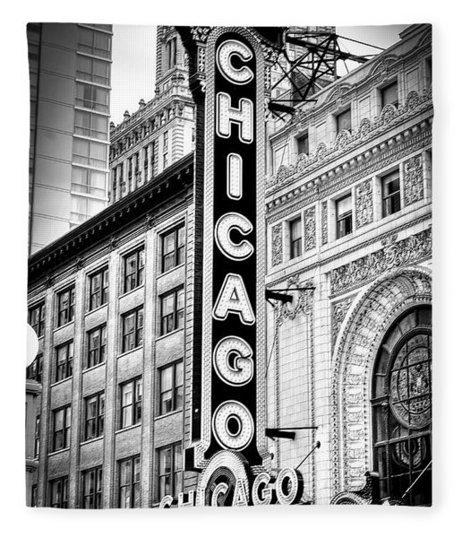 1077 Chicago Theater Black And White Fleece Blanket