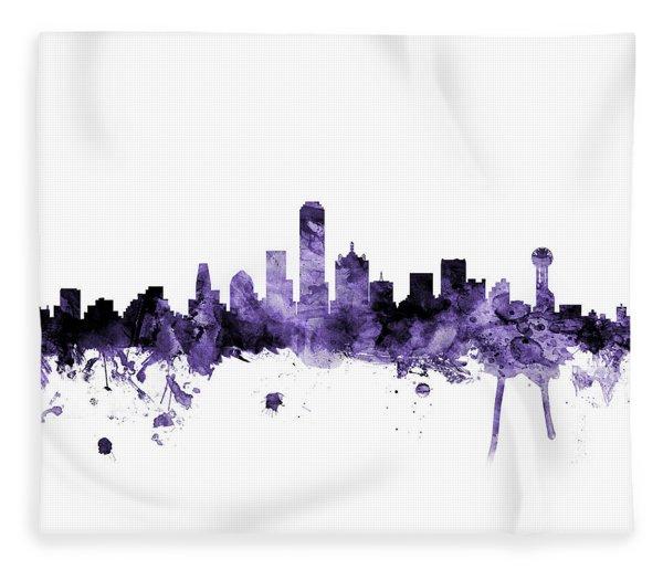Dallas Texas Skyline Fleece Blanket