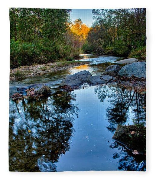 Fleece Blanket featuring the photograph Stone Mountain North Carolina Scenery During Autumn Season by Alex Grichenko