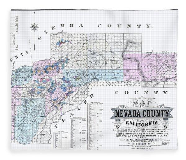 1880 Nevada County Mining Claim Map Fleece Blanket