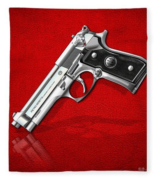 Beretta 92fs Inox Over Red Leather  Fleece Blanket