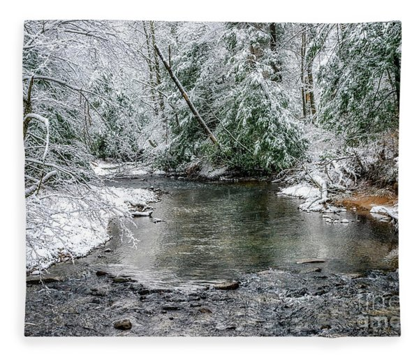 March Snow Cranberry River Fleece Blanket