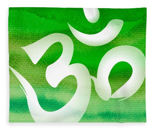 Om Symbol. Green Fleece Blanket