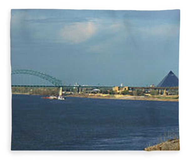 Panoramic View Of Mississippi River Fleece Blanket