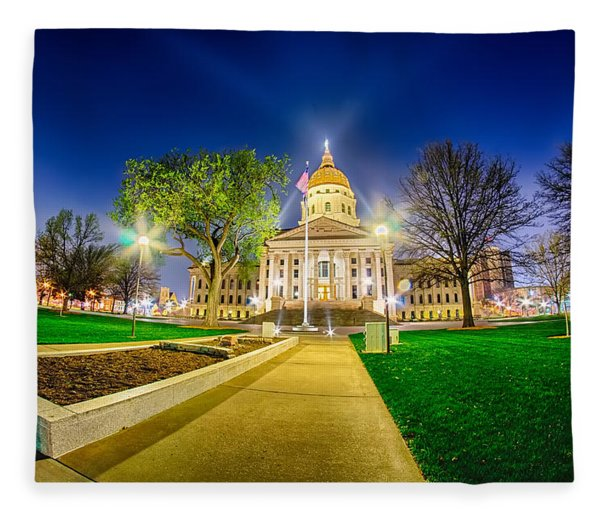 Fleece Blanket featuring the photograph Topeka Kansas Downtown At Night by Alex Grichenko