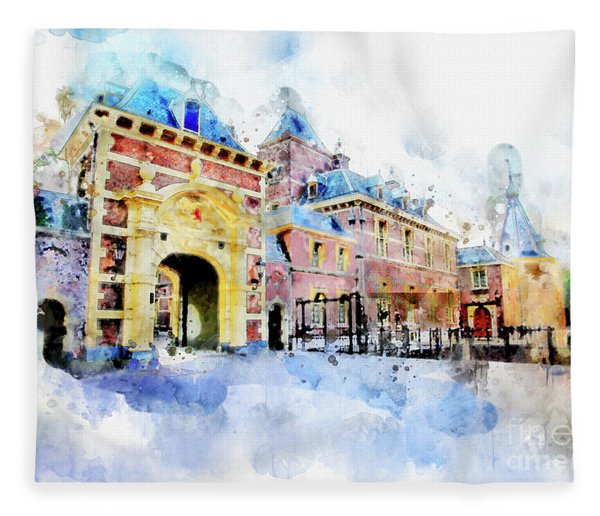 Town Life In Watercolor Style Fleece Blanket