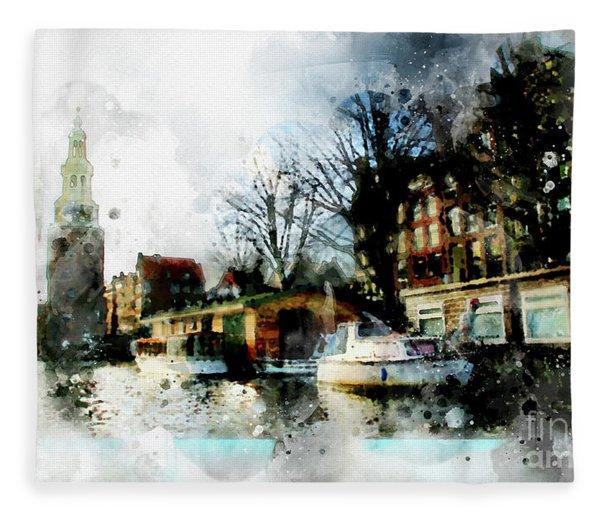 City Life In Watercolor Style   Fleece Blanket
