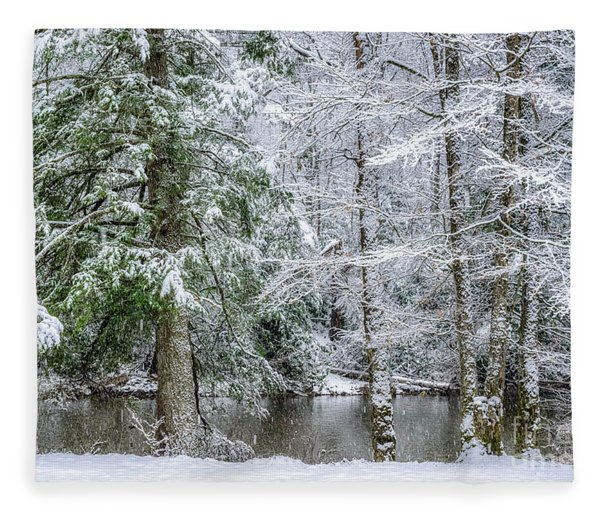 March Snow Along Cranberry River Fleece Blanket
