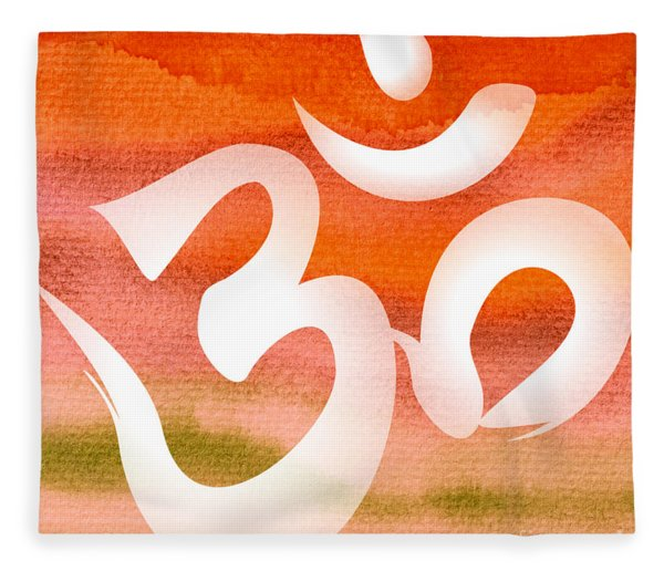 Om Symbol. Orange Fleece Blanket