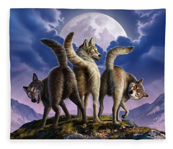 3 Wolves Mooning Fleece Blanket