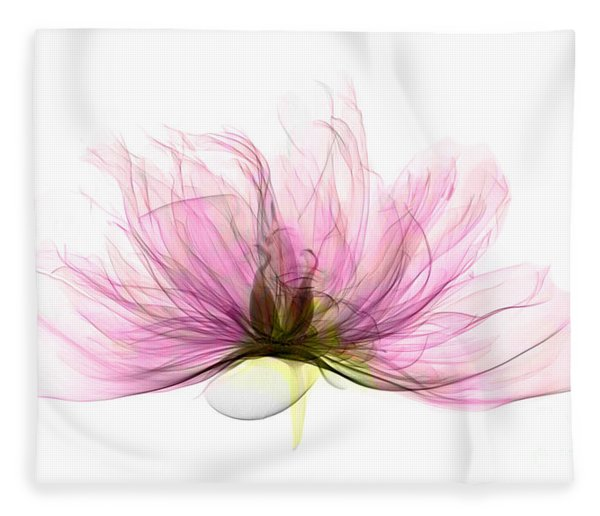 X-ray Of Peony Flower Fleece Blanket