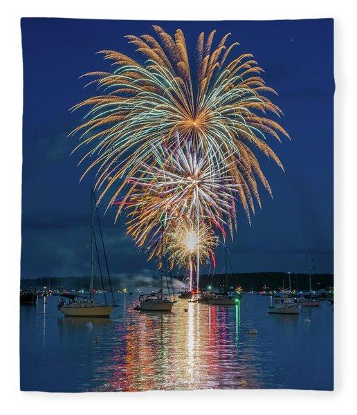Independence Day Fireworks In Boothbay Harbor Fleece Blanket