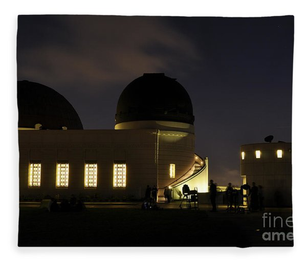 Night At Griffeth Observatory Fleece Blanket
